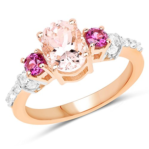 Huang and Co.. 1.46 Carats Genuine Morganite. Rhodolite, and White Topaz Ring Solid .925 Sterling Silver With 18KT Rose Gold Plating