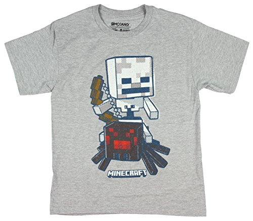 Minecraft Video Game Skeleton And Spider Graphic Design Youth Boys T-Shirt (Medium)