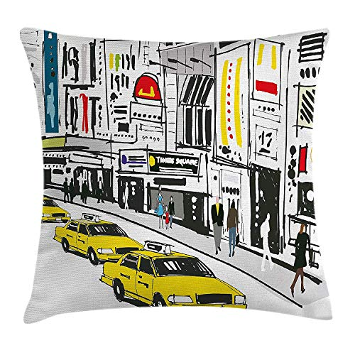 CoraBest Modern Throw Pillow Cushion Cover, Times Square