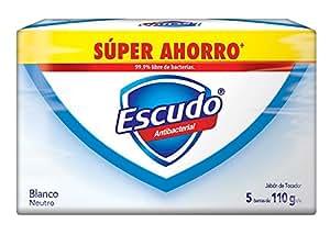 Escudo Jabón de Tocador, Blanco Neutro, 5 Barras de 110 gr