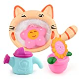 Water Play Toys, Sunflower+Water Kettle+Pentagram Mini Animal Squirt Toys with a Cat Fishing Net for Baby, Kids, Boys, Toddler, Girls Small Shower Toy Gift for Bath Time Pre-school Educational Toy for 0-8 Years Old Children