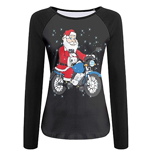BBlocks Cool Santa Claus Riding A Motorcycle Women's Printing Raglan Long Sleeve Tops Sweatshirt T-Shirt - Motorcycle Indian Sunglasses