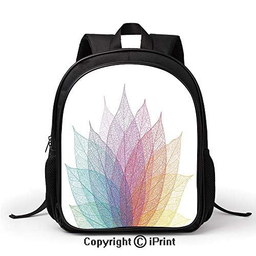 (Comfortable Breathable School Bag Leaf Abstract Artwork Four Season Flora Delicate Transparent Nature Theme Backpack :Suitable for Men and Women,School,Travel,Daily use,etc,Yellow Red Green)