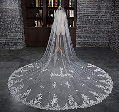 Edith qi 1T 1 Tier Long Wedding Cathedral Veils with Lace Appliques Edge