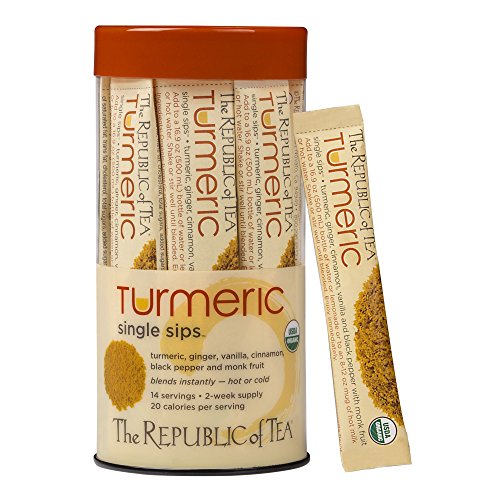 (The Republic of Tea Organic Turmeric Single Sips, Instant Turmeric Herbal Tea (14 Single-Serve Packets))