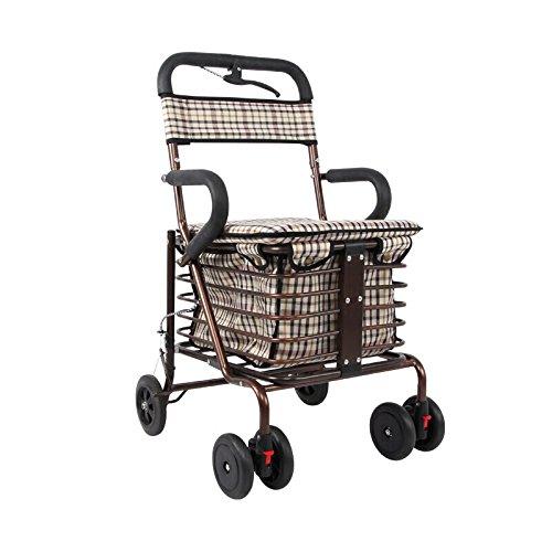 毎日 高齢者ショッピングカート/レクリエーション車/折りたたみ式ウォーカー/ウォーカー/リハビリ機器折り畳み歩行四輪ショッピングカートブロンズダブルホイールサイズ:45cm * 43cm * 85cm B07F5JTRSS