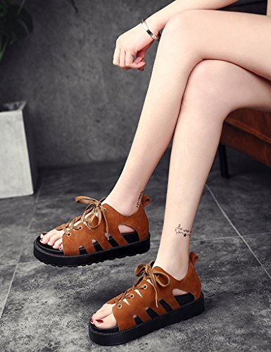 Size Bottom Summer Sandals Slope 38 Brown Leisure ZCJB Color Female Roman Beach Black Shoes Flat YqqH7xE