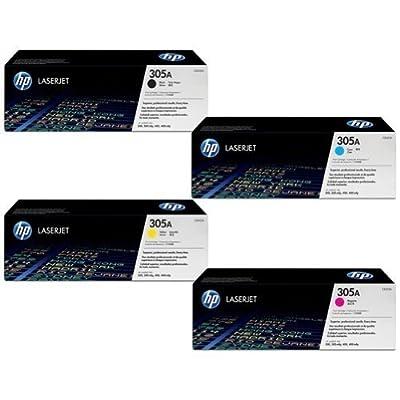 HP LaserJet Toner Cartridge Set (OEM) Black, Cyan, Magenta, Yellow / CE410A CE411A CE412A CE413A for Select HP LaserJet Pro 400, 300 Models