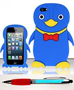 Accessory Factory(TM) Bundle (the item, 2in1 Stylus Point Pen) For iPhone 5 (AT&T Sprint Verizon Cricket) Penguin 3D Design Silicon Case - Blue SCPNG Soft Silicone Jelly Rubber Skin Phone Protector Cover