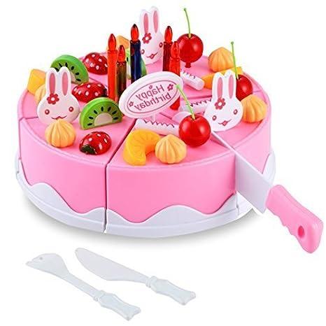 Arshiner Tarta Frutal de Cumpleaños de 54 Piezas Juguete para niños con Pequeñitos Cuchillo,Tenedor y Postre en Rosa