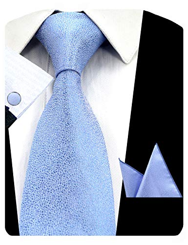 (GUSLESON Classic Solid Silk Tie Mens Blue Necktie Set with Pocket Square and Cufflinks (0727-16))