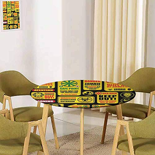 UHOO2018 Zombie Decor,Tabletop Decoration Apocalypse Signs Attention Danger Safe Point Evil Phrase Modern Image Buffet Decoration(Elastic Edged) Yellow Grey Red 47.5