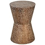 Bronze Drum Side Table Kathy Kuo Home Cantu Global Bazaar Copper Bronze Drum Side Table