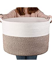 """YEESON Cotton Rope Storage Basket 21.7"""" x 21.7"""" x 13.8"""", Woven Rope Laundry Storage Basket , Blanket Organizer Basket with handles for Living Room, Bedroom, Kids Room, Laundry Room and Nursery Room"""