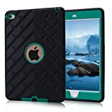 iPad Mini 4 Case, Sophia Shop [Heavy Duty] [Tire Pattern Series] 3in1 Hybrid Shockproof &Drop Resistance Anti-slip Hard PC&Soft Silicone Cover For iPad Mini 4(Black+Teal)