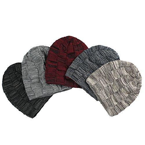 hembra Hat macho Sombrero Halloween gorro invierno Luz ceniza beanie invierno engrosada de MASTER cáñamo sombreros Navidad doble Beige de Sombrero cálido de punto vSf7q