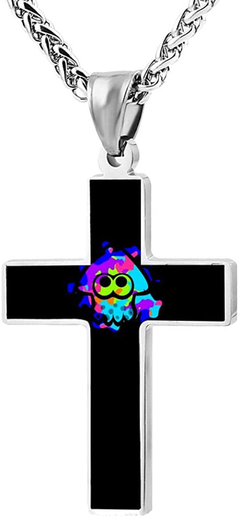 Creative neutral custom cute Sp-lato-on Squ-id necklace 3d printed pattern 24 inch zinc alloy cross pendant