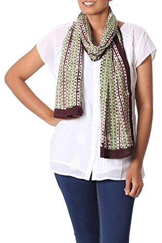 NOVICA Brown and Green Cotton Batik Scarf, Leafy Wonder' ()
