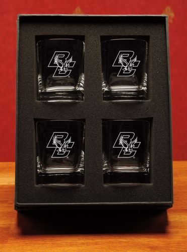 NCAA - Boston College Eagles 14 oz Deep Etched Double Old Fashion Glasses Gift Set of 4 by CC Glass