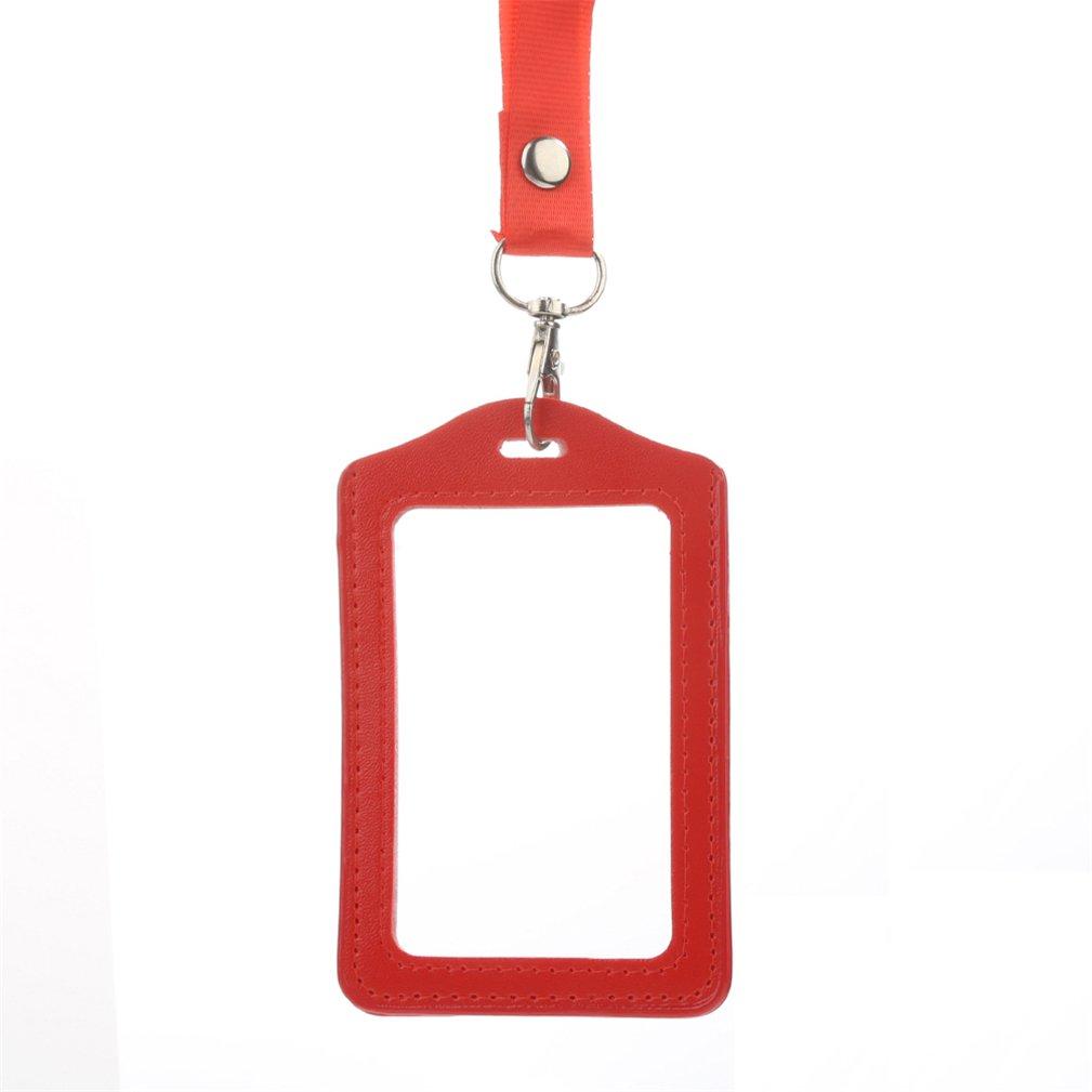 Custodia per documento d/'identit/à o badge in autobus copertura trasparente ecc per uso in ufficio bordo in similpelle a scuola con cordino retrattile medium Blue