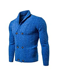 TaoNice Mens Fall Winter Outwear Shawl Collar Solid Colored Cardigan