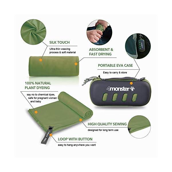 51C5Ilw1naL 4Monster Mikrofaser Handtücher in 5 Farben, Saugfähiges Sporthandtuch Ultra Leicht, Schnelltrocknendes Reisehandtuch für…
