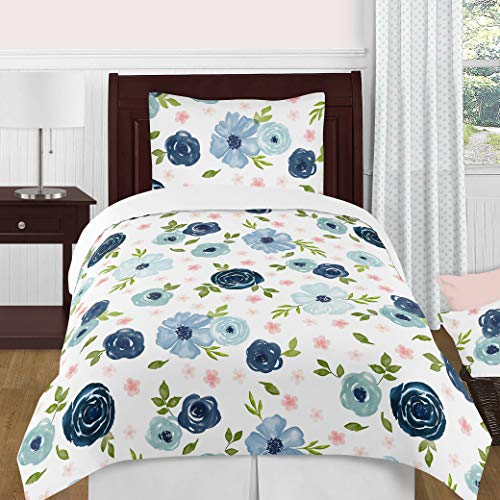 Sweet Jojo Designs Navy Blue and Pink Watercolor Floral Girl Twin Size Kid Childrens Bedding Comforter Set – 4 Pieces – Blush, Green and White Shabby Chic Rose Flower