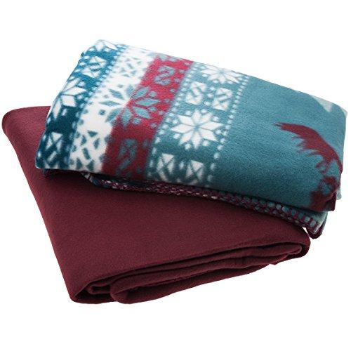 """2pk Fleece Throw Blanket 50""""x60"""" Nordic Woodland Moose Forest Christmas Burgundy"""