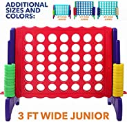 Giant 4 in A Row, 4 to Score - Premium Plastic Four Connect Game JUMBO 4 Foot Width or JUNIOR 3 Foot Width Set