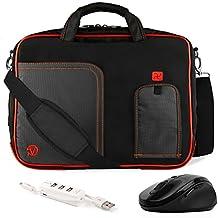 VanGoddy Pindar Fire Red Trim Messenger Bag w/ USB HUB and Wireless Mouse for MSI Phantom GS30 13inch Gaming Laptop