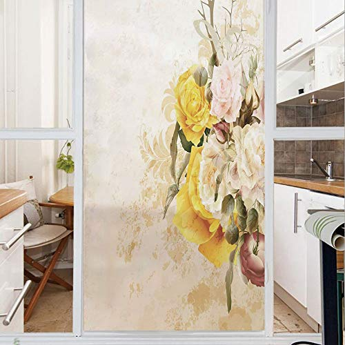 - Decorative Window Film,No Glue Frosted Privacy Film,Stained Glass Door Film,Flower Bouquet Flourishing Rose Petals Botany Shabby Chic Design,for Home & Office,23.6In. by 47.2In Earth Yellow Olive Gree
