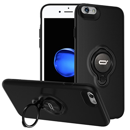 iPhone 6s / iPhone 6 Case with Ring Holder Kickstand Function, 360 Degree Rotating Ring Holder Grip Case Ultra Slim Thin Hard Cover for iPhone 6s / 6(4.7inch) (Black)