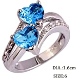 Fashion Women Crystal 925 Silver Heart Wedding Ring Love Ring Size 6-9 Jewelry (9)