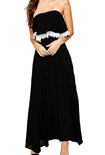 Zkess Women's Lace Maxi Dress Patchwork Evening Gown