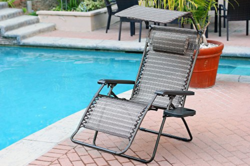 Jeco Oversized Zero Gravity Chair with Sunshade and Tray - Black and Tan