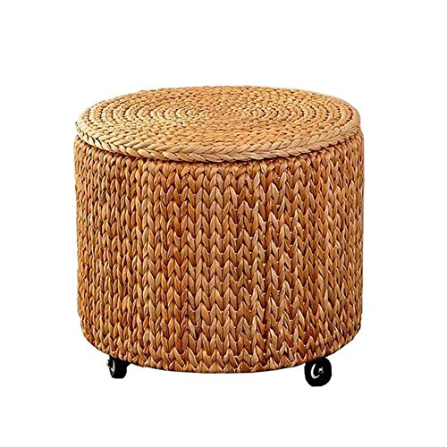 QTQZ Brisk- Storage Stool Retro Pastoral Mobile Stool Pulley Round Storage Stool with a Storage Box (2 Colors Optional) (41 41cm) (Color: B)
