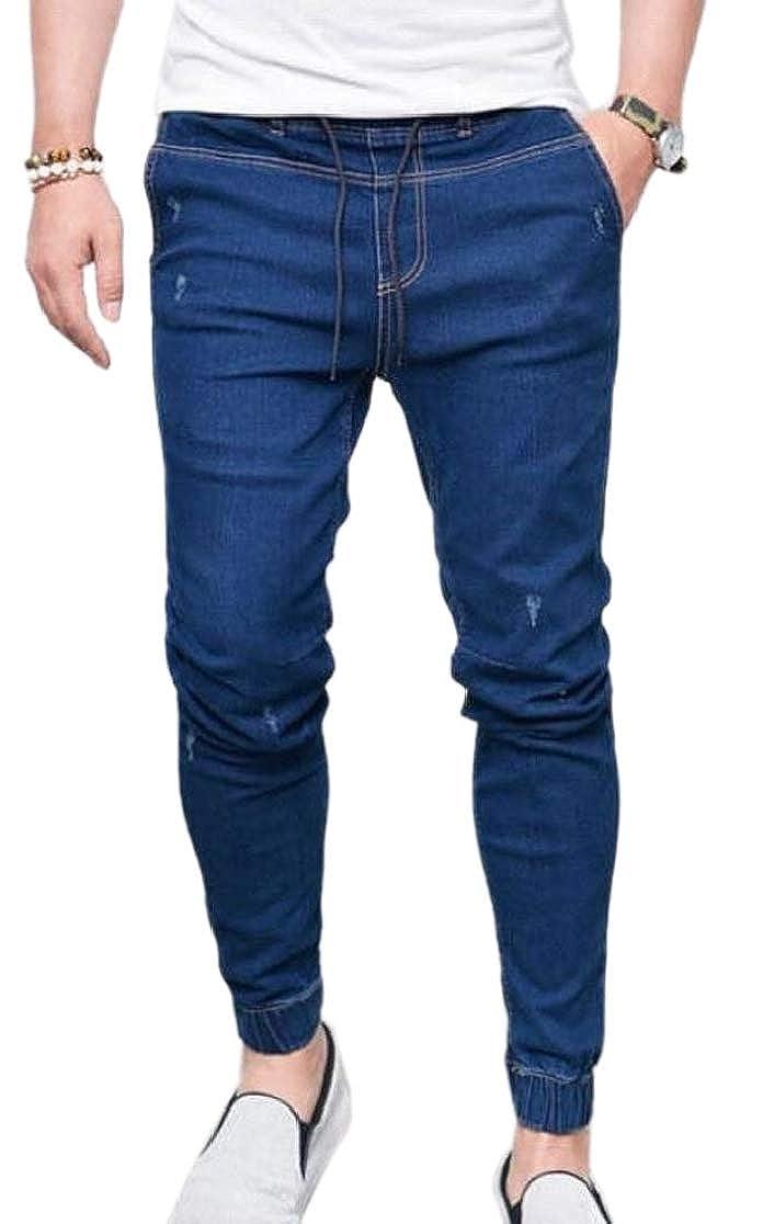 M/&S/&W Men Jogging Washed Drawstring Skinny Fit Jeans Mid Waist Denim Pants