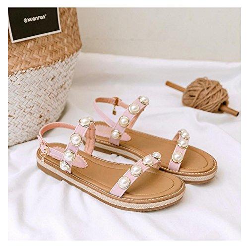 Coolcept Women Open Toe Sandals Flats Pink-44 BzY1lFYL