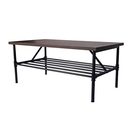 Rustic Industrial Coffee Table Wood And Metal Modern Clean Line Rectangular  Indoor Living Room Furniture With