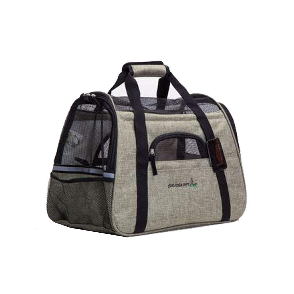 Green Pet Travel Carrier Dog Cat Puppy Lightweight Luxury Folding Airplane Bag with Soft Cushion