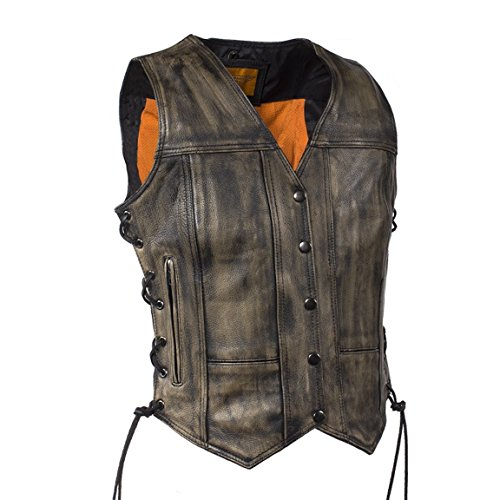 Womens Distressed Brown Naked Leather Motorcycle Vest With Gun Pockets (2XL, (Brown Leather Motorcycle Vest)