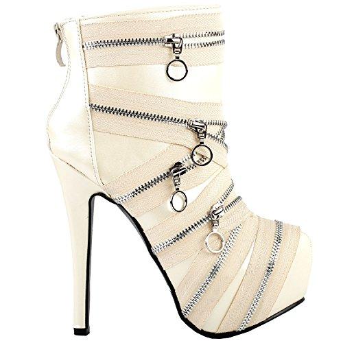 Punk Black Zip Gothic Platform Stiletto Ankle Bootie BootsLF80845