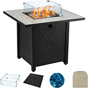 AVAWING Propane Fire Pit Table, 30 inch 50,000 BTU Square Gas Firepits w/Ceramic Tabletop with Waterproof Cover, Glass Wind Guard, Tempered Glass Beads,Protective Cover