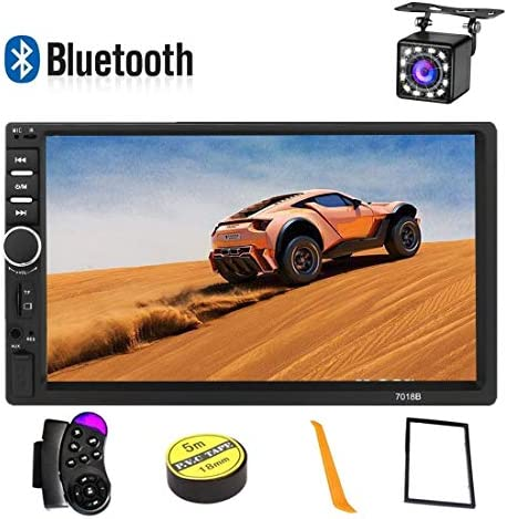 Car Stereo 2 Din,7 inch Touch Screen MP5 MP4 MP3 Multimedia Player,Bluetooth Audio,Car Stereo Receivers,FM Radio,USB SD AUX Input,Mirror Link,Support Steering Wheel Remote Control,Rear View Camera