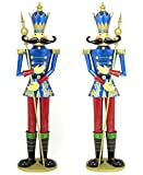 Giant Life-Size PAIR of 6' Iron Nutcracker Christmas Holiday Toy Soldiers (Blue)