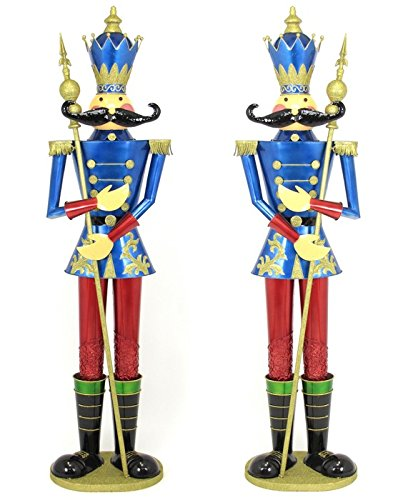 giant life size pair of 6 iron nutcracker christmas holiday toy soldiers blue - Christmas Toy Soldiers