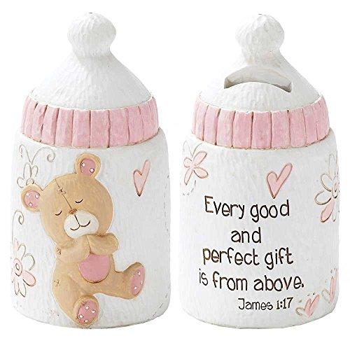 Dicksons Baby Bear Coin Bank for Girl, James 1:17/White ()