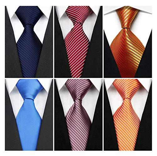 Wehug Lot 6 PCS Men's Solid Tie Silk Tie Woven Necktie Jacquard Neck Ties Classic Ties For Men style028 ()