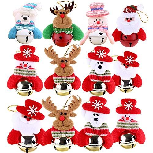 Yamisan 12 PCS Christmas Ornaments Bells Decorations, Hanging Ornaments Bells Christmas Tree Door Party Supplies, Snowman/Old Man/Bear/Elk