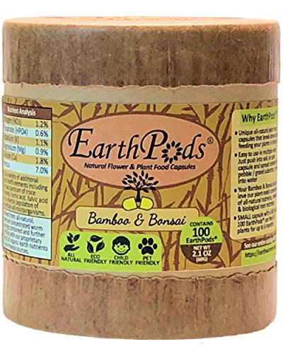 EarthPods Best Bamboo + Bonsai Plant Food - Easy Organic Fertilizer Spikes - 100 Capsules - Enhances Color, Root + Foliar Growth (Also Great for Fiddle Leaf Fig & Mini Palm Tree, No Urea, Ecofriendly)